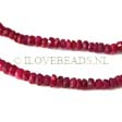 REAL RUBY BEADS, FACETED RONDELLES 3MM